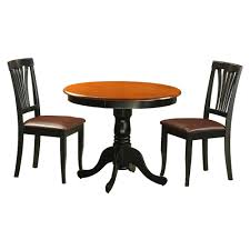 get ations east west furniture antique 3 piece pedestal round dining table set with avon faux leather chairs