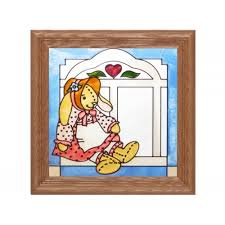 stained glass panel bunny
