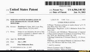"""Патент США (54) манипуляция нервной системой с помощью 6 238,333 BI 52001 Loos 6009 электромагнитных полей от is MONITORS Ther публикации N. Wiener """"нелинейные задачи в теории случайных чисел"""" стр. 71-72 (76) изобретатель: Hendricus G. Loos,"""