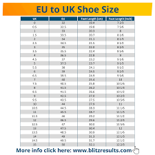 Eu To Uk Shoe Size Conversion Charts For Women Men Kids
