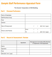 Sample Employee Performance Appraisal Sample Job Performance Evaluation Form 7 Documents In Pdf Word