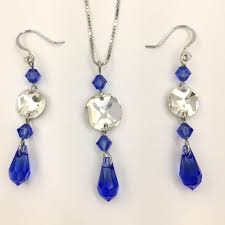 telucani women s necklace and earring jewelry set sapphire blue swarovski crystals 925 sterling silver
