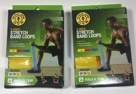 2 Golds Gym Stretch Band Loops Workout Build Tone Balance 3