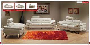 Quality Living Room Furniture Ace White Modern Sofa With Orange Area Rugs As Well As Artwork