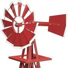 4ft ornamental garden windmill red