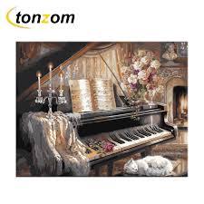 <b>RIHE</b> Piano Diy Painting By Numbers Cat <b>Oil</b> Painting Music ...