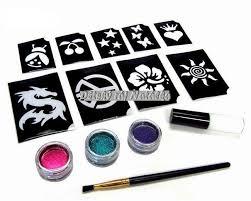 Sada Třpytivé Tetování 10 šablon Lepidlo