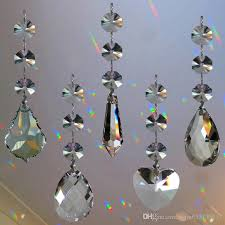 crystal chandelier lamp prisms part hanging glass teardrop pendants with octagon beads silver jump rings connector crystal lamp prisms parts crystal