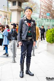 punk inspired harajuku street style w spiked leather jacket black graphic tee onit tiger pants lewis leathers boots
