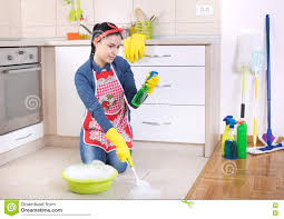 Kitchen Floor Mop Woman Cleaning Kitchen Floor Royalty Free Stock Photos Image