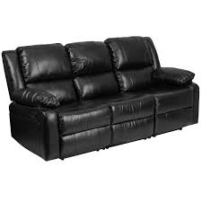 flash furniture harmony series black leather sofa with two built in recliners com
