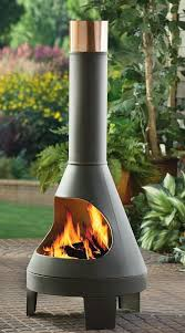 modern styled chiminea great for keeping warm outdoors fireplace warm