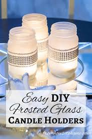 diy frosted glass candle holder