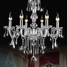 e12 6 heads clear crystal chandelier dining room bedroom ceiling pendant light fixture ac110 240v
