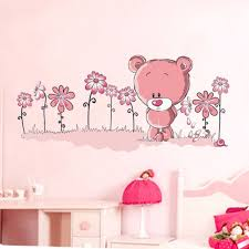pink teddy bear wall stickers art mural children s kids nursery baby bedroom uk1 on teddy bear wall art for nursery with pink teddy bear wall stickers art mural children s kids nursery baby