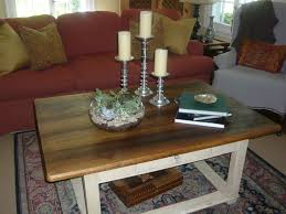 Living Room Table Decorations Furniture Three Round Wooden Coffee Table Decor With Orange Vase