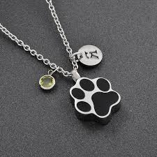 personized crystal letter charms pet cremation necklace dog paw shape memorial keepsake jewelry for urn ashes