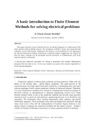 Electrical Design Analysis Example Pdf A Basic Introduction To Finite Element Methods For
