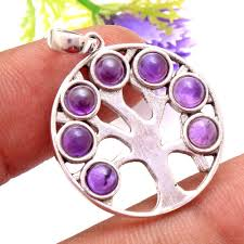 details about purple amethyst 925 sterling silver designer 7 stone tree of life pendant