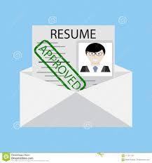 Envelope For Resume Approved Stamp On Resume In Envelope Vector Stock Vector