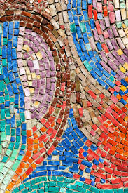 Diagonal Colorful Mosaic Texture On The Wall Stock Photo, Picture And  Royalty Free Image.