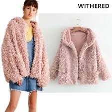 2018 whole withered 2017 bts winter fur jacket coat high street hooded pink color thick warm fur oversize faux fur coat women top plus size from