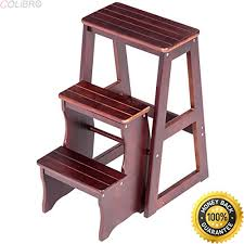 Wooden step stool with handle White Wooden Colibrox Tier Folding Wood Step Stool Ladder Chair Bench Seat Utility Home Kitchen New Wooden Step Stool For Toddler Wooden Step Stools For The Kitchen Wantitall Colibrox Tier Folding Wood Step Stool Ladder Chair Bench Seat