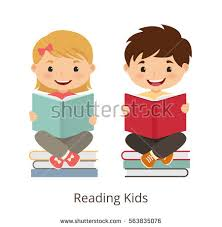 cartoon kids reading book small kids holding open books and reading vector concept ilration