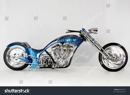 custom harley motorcycle chopper bike blue stock photo 3325272