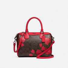 NEW Coach Brown Mini Bennett Satchel with Red Camo Rose Floral Print F25870   325