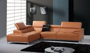 Divani Casa Citadel Modern Orange Leather Sectional Sofa w Audio