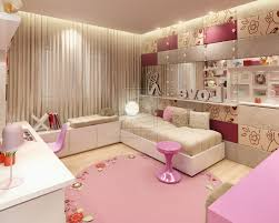 bedroom teenage bedroom furniture brown laminate wooden flooring book cabinet pink and grey wall paint