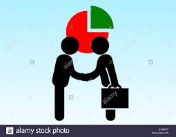 Black Silhouette Of Two Business Men Shaking Hands On A