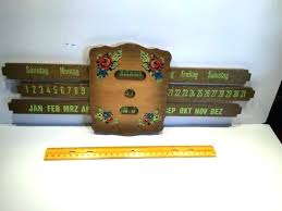 wooden perpetual wall calendar vintage hand painted wood slide hanging antique per kit