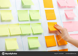 Cropped View Businesswoman Attaching Sticky Notes Copy Space