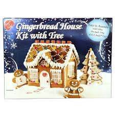 Premade Gingerbread Houses Easy To Assemble Christmas Gingerbread House Kit With Tree Blue