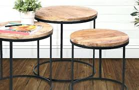 round wood and metal side table round metal and wood table nesting tables wood and metal