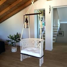 handmade macrame hanging chair dark wood cream swing diy hammocks chairs