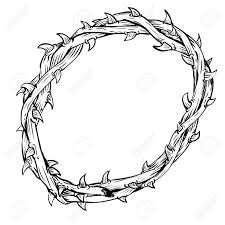 hand drawing of thorn crown isolated on white background black and white simple line