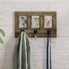 wall picture collage with 3 hanging hooks wall mounted photo frame decor with rustic wood look holds 4x6 pictures by destination home on opensky
