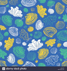 Designing Repeat Patterns For Textiles Vector Blue Repeat Pattern With Variety Of Clam Seashells