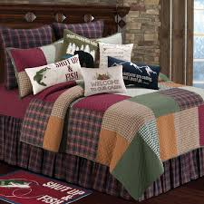 rustic bedding full queen size creek quilt black forest decor