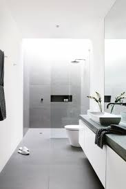 modern white bathroom tiles. Interesting Bathroom Large Scale Matte Grey Tiles For A Peaceful Minimalist Bathroom Intended Modern White Bathroom Tiles