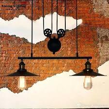 lighting vintage industrial pulley pendant lights loft adjustable wire 3 heads light