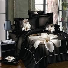 white orchid black bedsheet 3d bedding sets queen king size 4pcs flowers printing duvet cover bedlinen