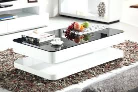high gloss coffee table white with black glass storage