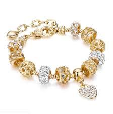 21 Optional <b>Luxury Crystal</b> Heart <b>Charm</b> pan Bracelets & Bangles ...