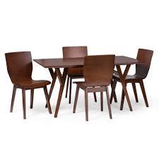 Bentwood Dining Table Baxton Studio Elsa Mid Century Modern Scandinavian Style Dark