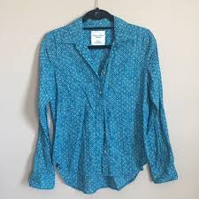 Patterned Button Up Shirts Delectable American Eagle Outfitters Tops Blue Patterned Button Up Shirt