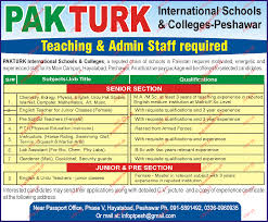 Teaching Admin Staff Required 2018 Pak Turk International